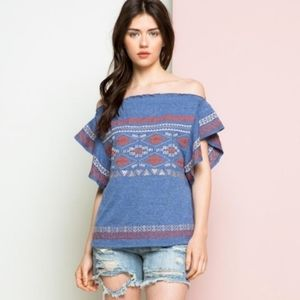 THML Boutique Boho Aztec Embroidered Top S NWT